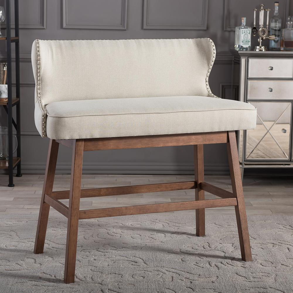 Gradisca Beige Fabric Upholstered Bar Bench