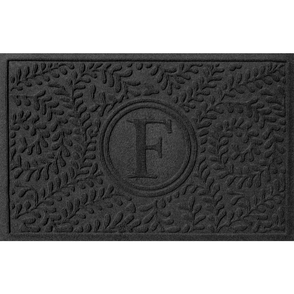 Boxwood Charcoal 24 in. x 36 in. Monogram F Door Mat