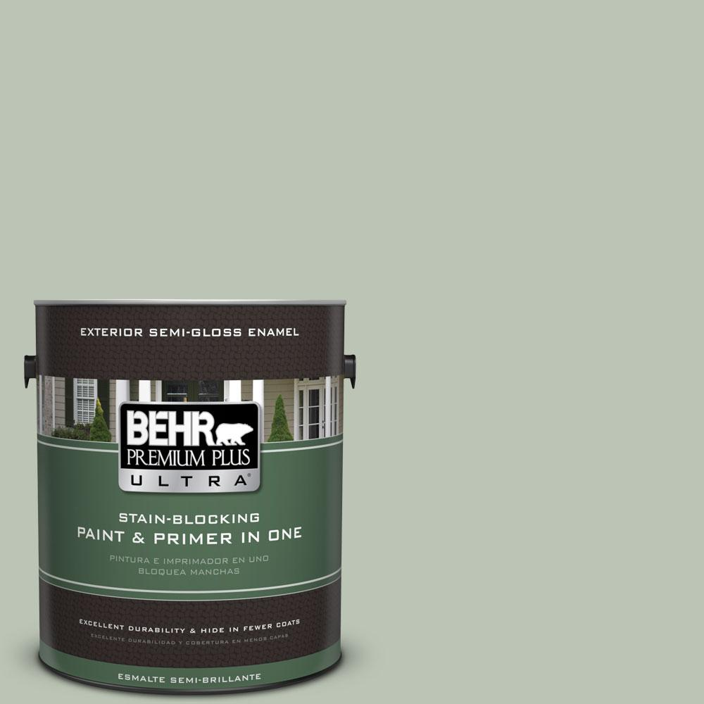 BEHR Premium Plus Ultra 1-gal. #PPU11-11 Summer Green Semi-Gloss Enamel Exterior Paint