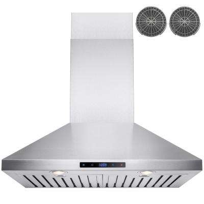 30 in. Convertible Kitchen Wall Mount Range Hood in Stainless Steel with Touch Control and Carbon Filter