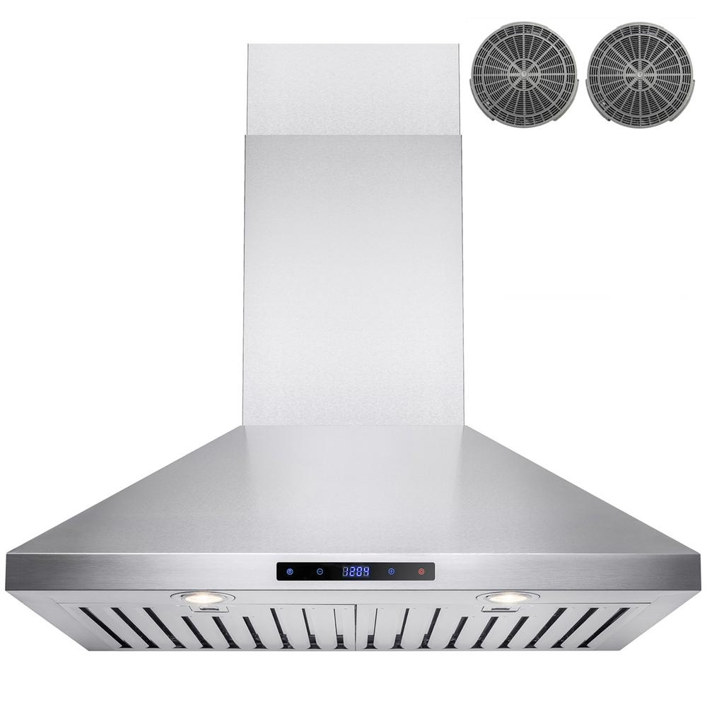 Convertible Kitchen Wall Mount Range Hood In Stainless Steel With Touch Control And Carbon Filter
