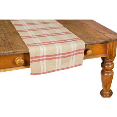Linen Check 16 in. x 72 in. Natural Table Runner