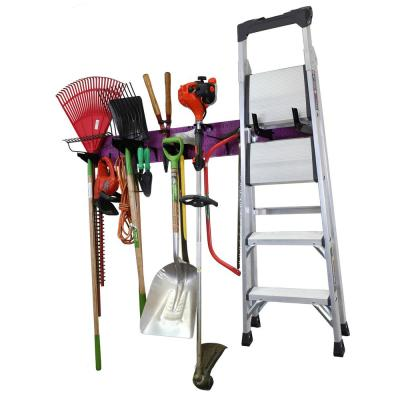 8 in. H x 64 in. W Garage Tool Storage Lawn and Garden Tool Organizer Rack with Colorful Purple Pegboard and Black Hooks