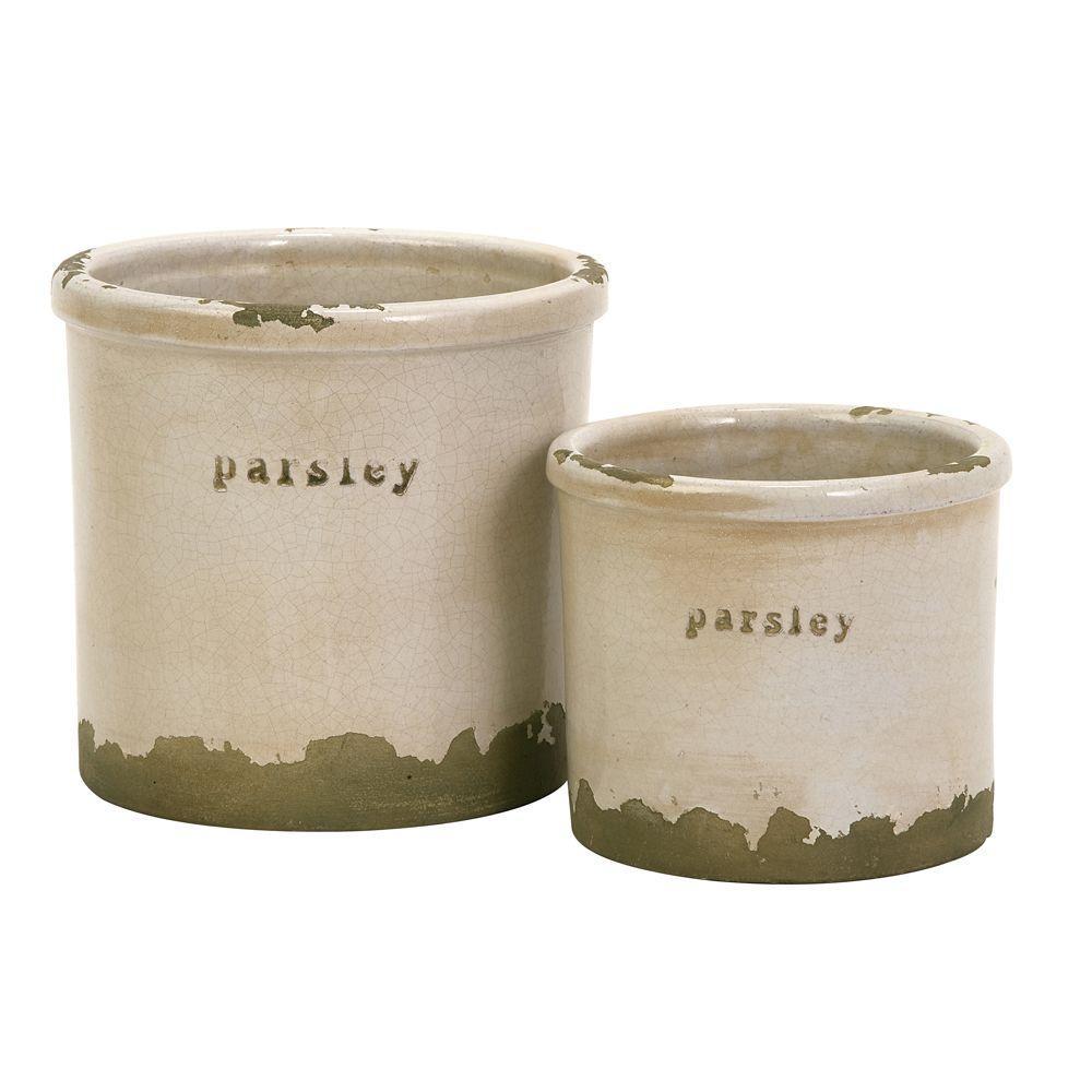 Home Decorators Collection Gardener Parsley Herb Pots Set of 2