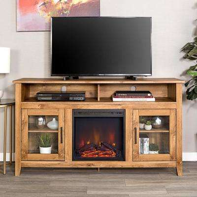 58 in. Barn Wood Console Wood Highboy Fireplace Media TV Stand