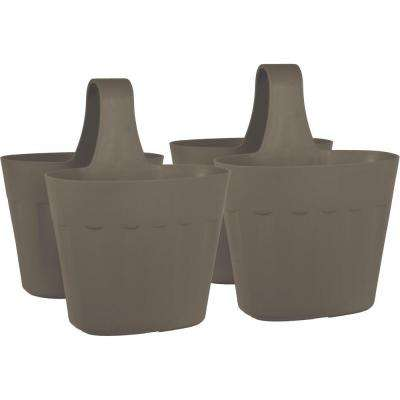 Mela 15 in. Taupe Plastic Saddlebag Rail Planter (2-Pack)