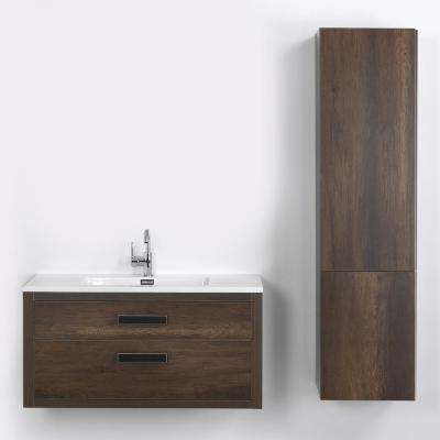 39.4 in. W x 19.3 in. H Bath Vanity in Brown with Resin Vanity Top in White with White Basin