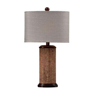 Cork 21 in. Brown Table Lamp with Light Beige Shade