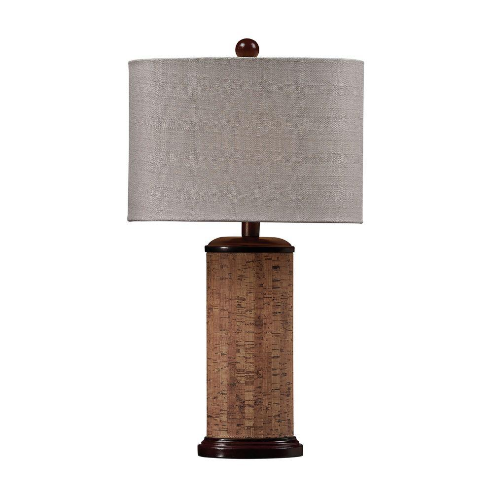 An Lighting Cork 21 In Brown Table Lamp With Light Beige Shade