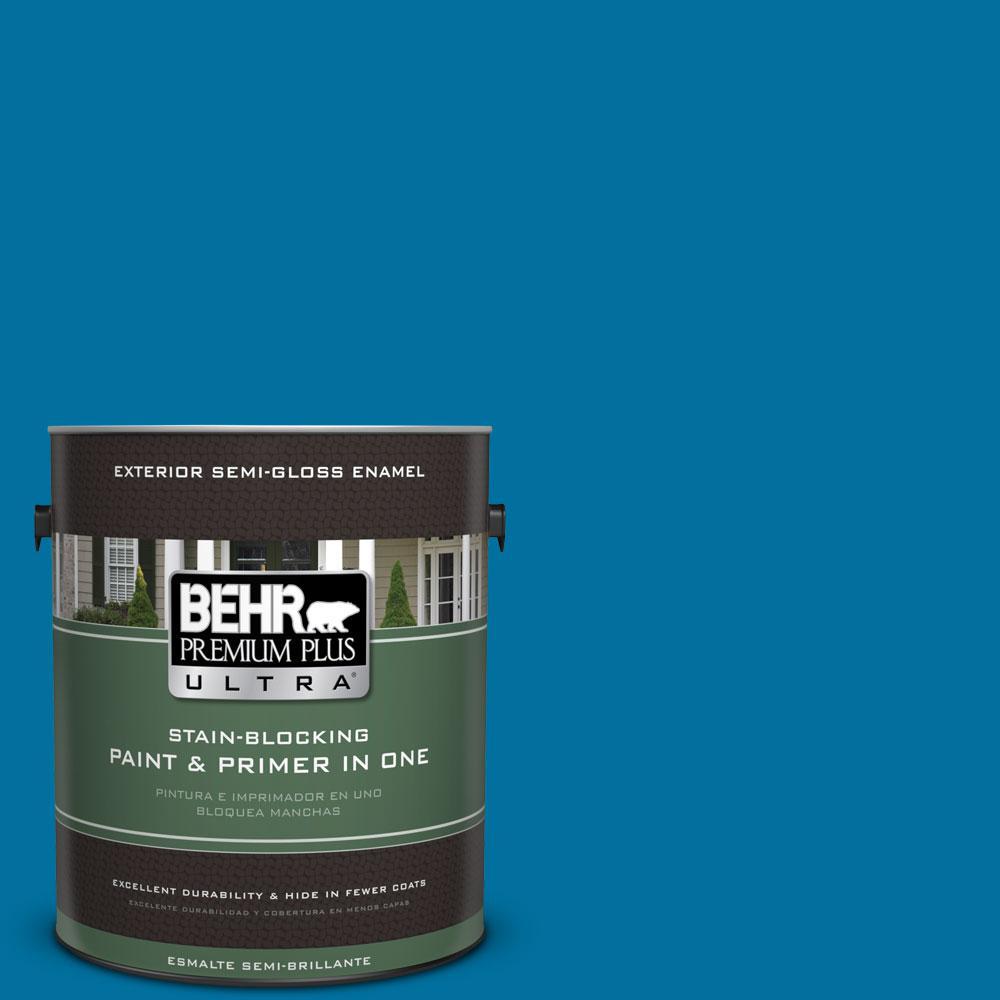 1-gal. #550B-7 Blue Ocean Semi-Gloss Enamel Exterior Paint