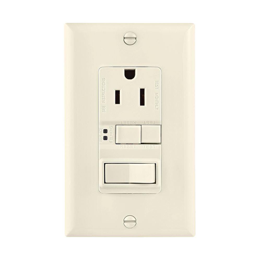 Eaton GFCI Self-Test 15A -125V Receptacle with Switch with Mid-Size ...