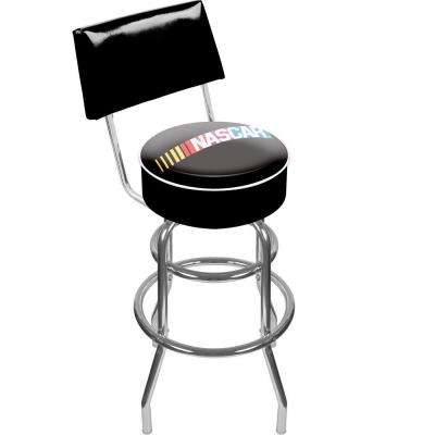 NASCAR 30 in. Chrome Swivel Cushioned Bar Stool