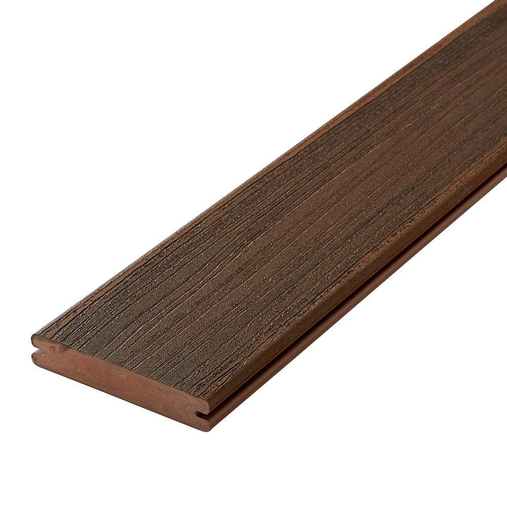 Paramount 1 in. x 5-4/9 in. x 16 ft. Brownstone Grooved