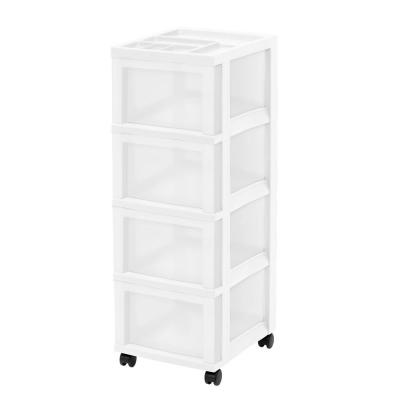 14.25 in. L x 12.05 in. W x 22.25 in. H Medium 4-Drawer Cart with Organizer Top in White and Pearl