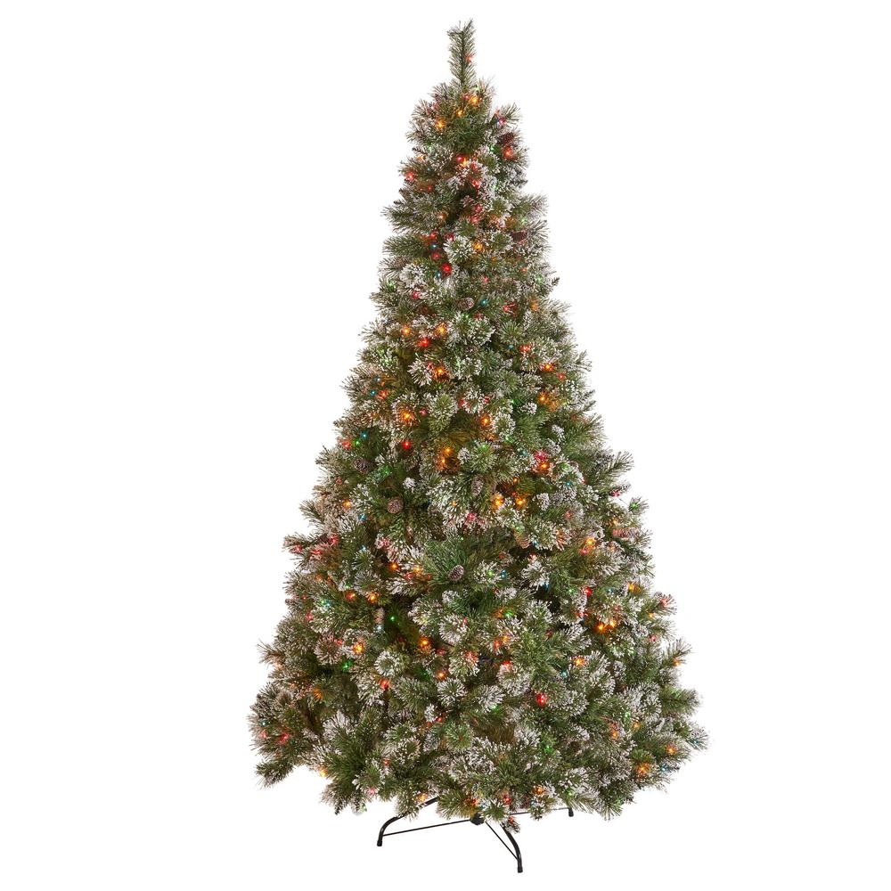 Artificial Christmas Tree Branches.Noble House 9 Ft Pre Lit Mixed Spruce Hinged Artificial Christmas Tree With Multi Colored Lights Snow Branches And Pinecones
