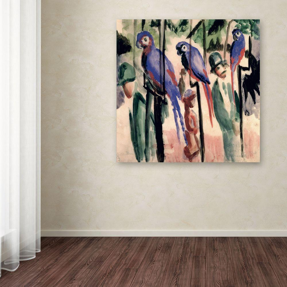 35 in. x 35 in. Blue Parrots Canvas Art