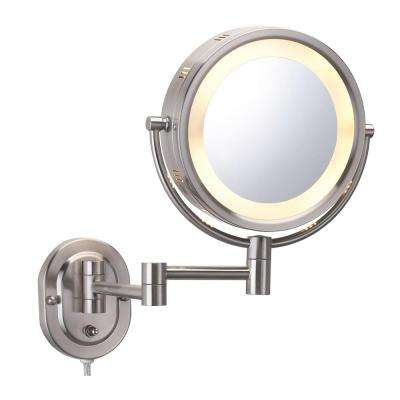 8 in. x 8 in. Round Lighted Direct Wired Wall Mounted 5X Magnification Make Up Mirror in Nickel