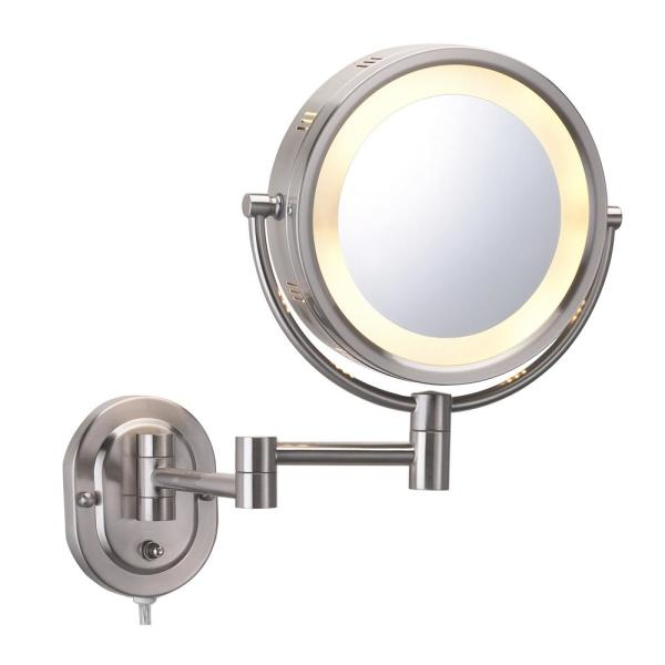 8 in. x 8 in. Round Lighted Direct Wired Wall Mounted 5X Magnification Makeup Mirror in Nickel