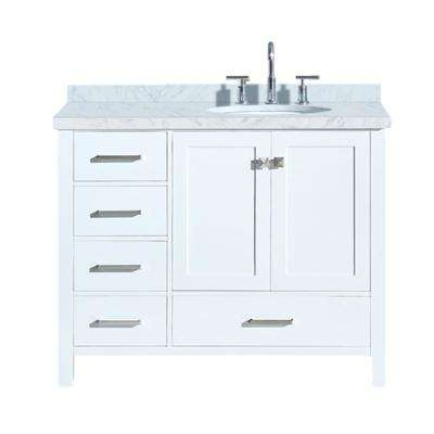 Cambridge 43 in. Bath Vanity in White with Marble Vanity Top in Carrara White with White Basin