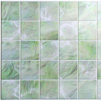 3D Falkirk Retro 10/1000 in. x 38 in. x 19 in. All Shades of Green Faux Pearl Squares PVC Wall Panel