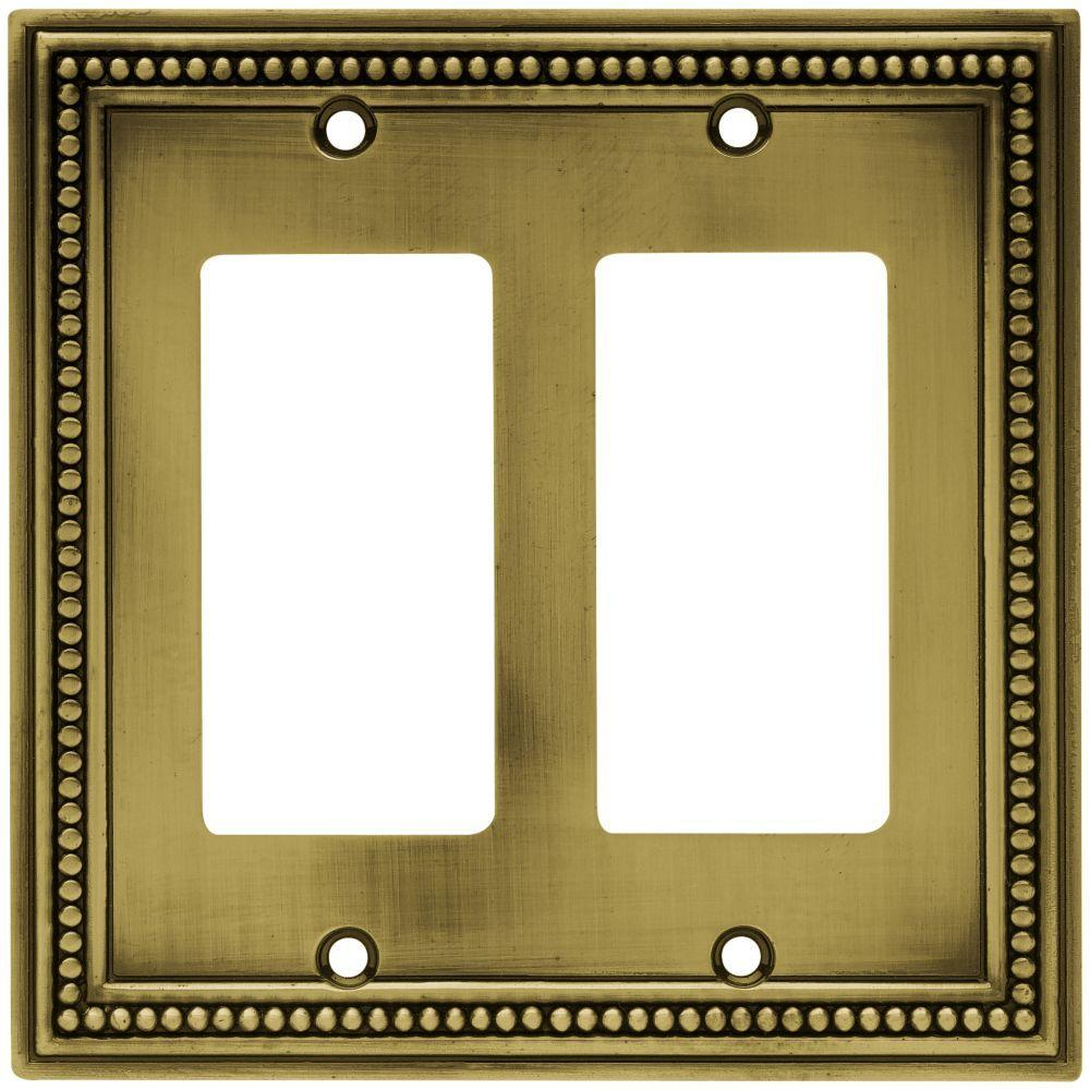 Beaded Decorative Double Rocker Switch Plate, Tumbled Antique Brass
