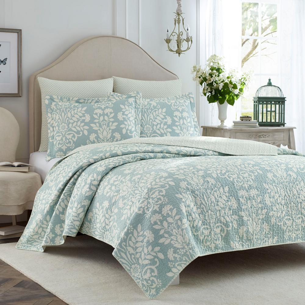 Rowland 2-Piece Breeze Blue Twin Quilt Set