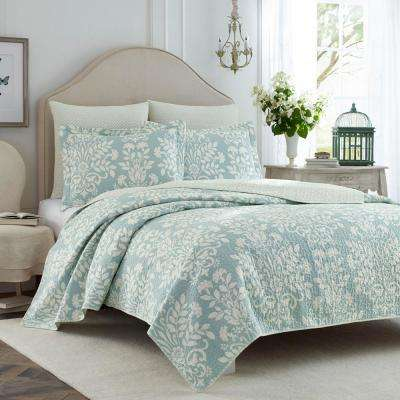 Rowland 3-Piece Breeze Blue King Quilt Set