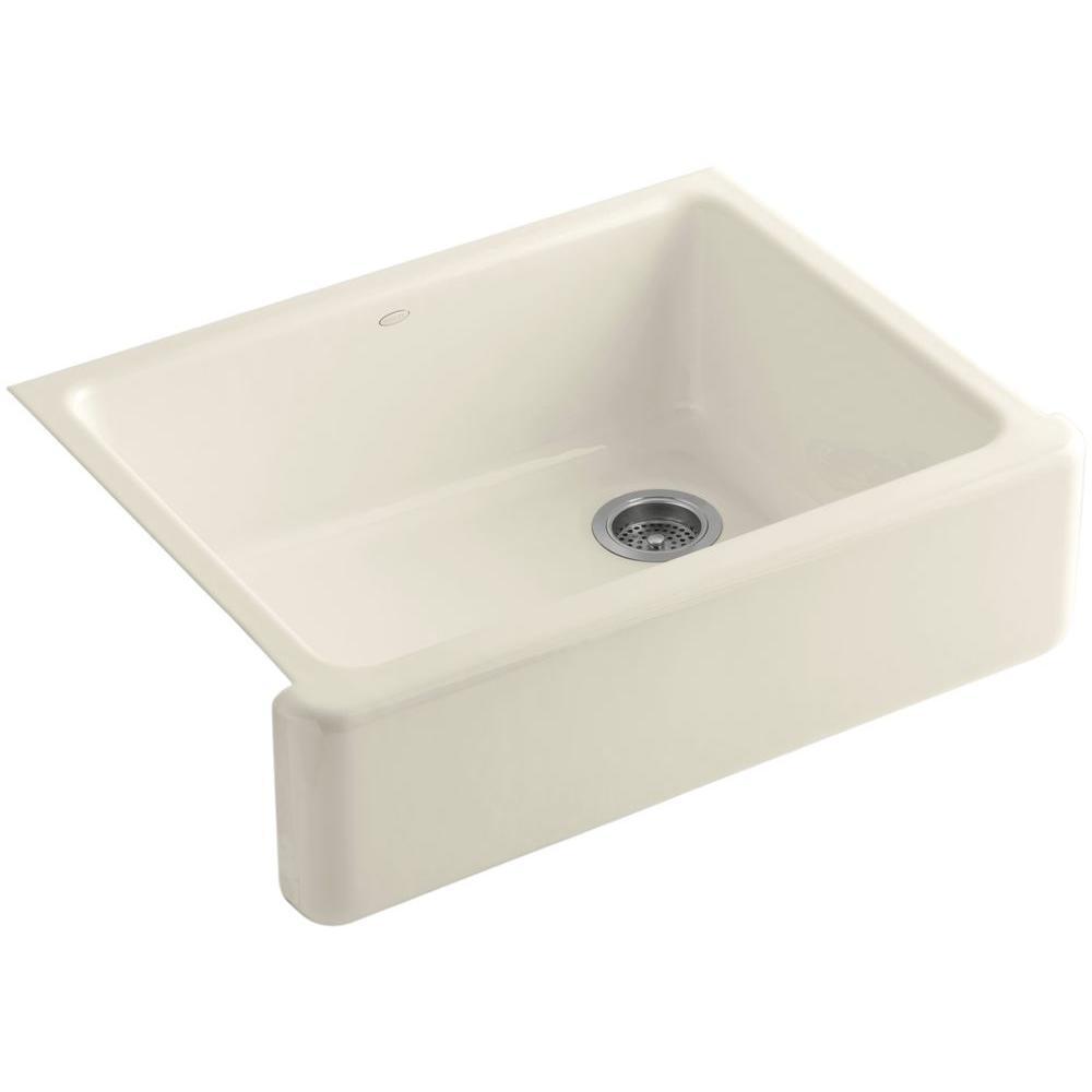 Cast Iron Apron Front Sink.Kohler Whitehaven Farmhouse Apron Front Cast Iron 30 In Single Basin Kitchen Sink In Almond