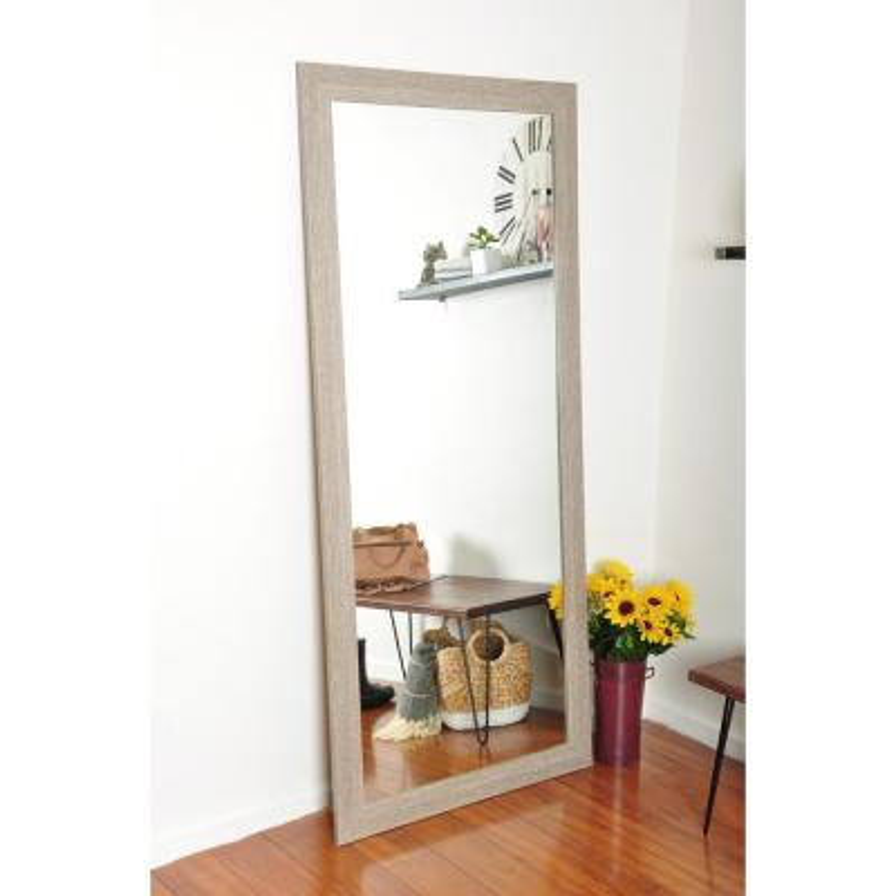 Medium Brown/White Composite Hooks Farmhouse Mirror (32 in. H X 71 in. W)