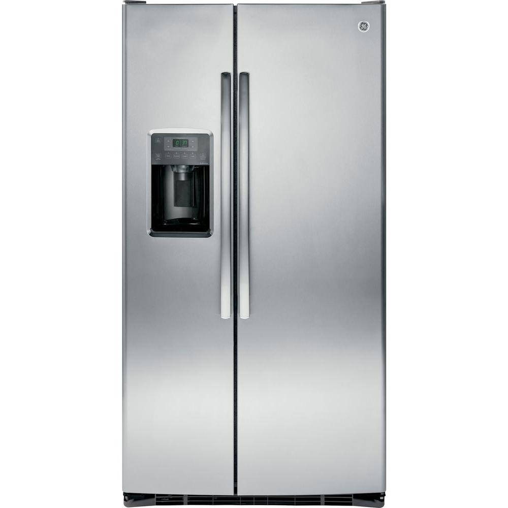 ge adora 25 4 cu ft side by side refrigerator in stainless steel dse25jshss the home depot. Black Bedroom Furniture Sets. Home Design Ideas