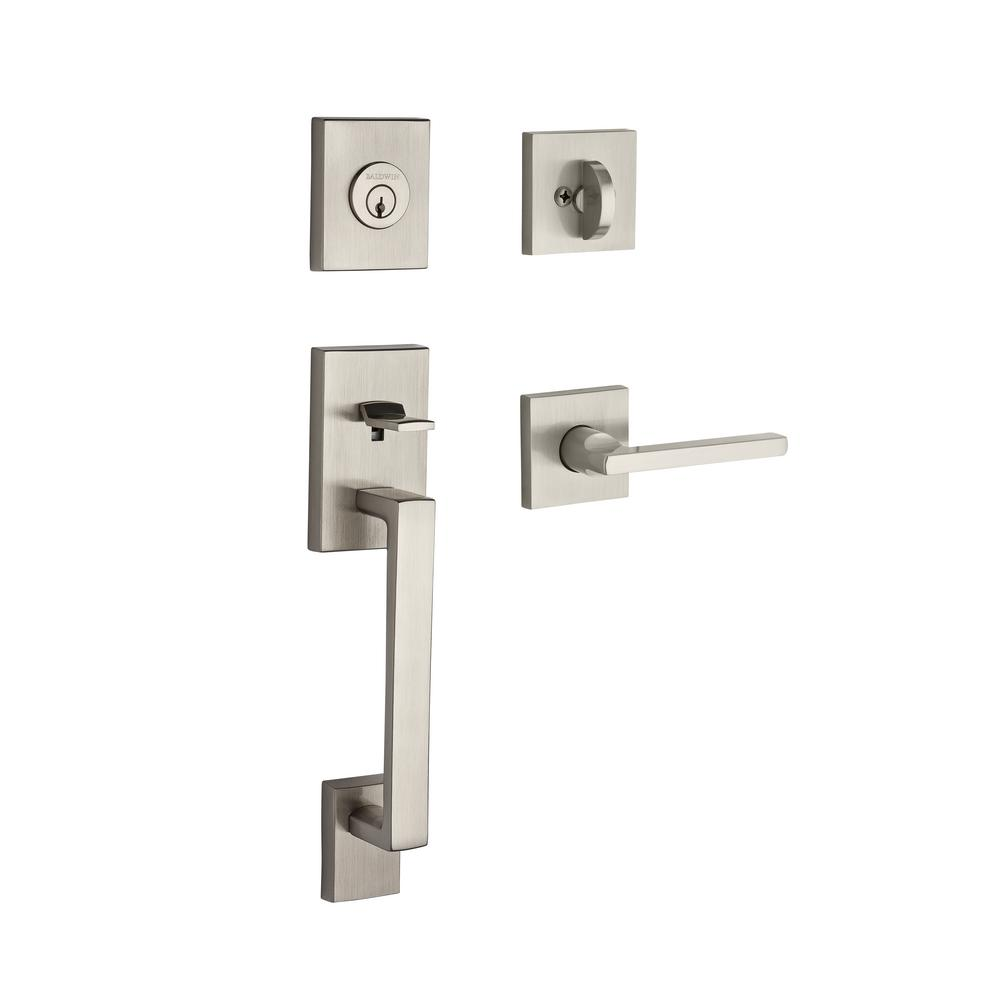 la jolla double cylinder satin nickel handle set with square lever