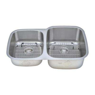 The Chefs Series Undermount 32 in. Stainless Steel 40/60 Double Bowl Kitchen Sink Package