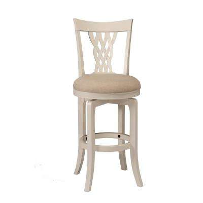 Embassy 47 in. White Swivel Cushioned Bar Stool