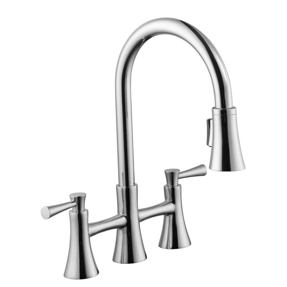 Deals on Schon 925 Series 2-Handle Pull-Down Sprayer Bridge Kitchen Faucet