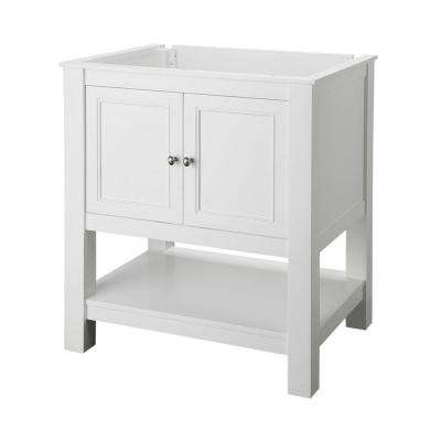 Gazette 31 in. W x 22 in. D Vanity in White with Granite Vanity Top in Giallo Ornamental with White Sink