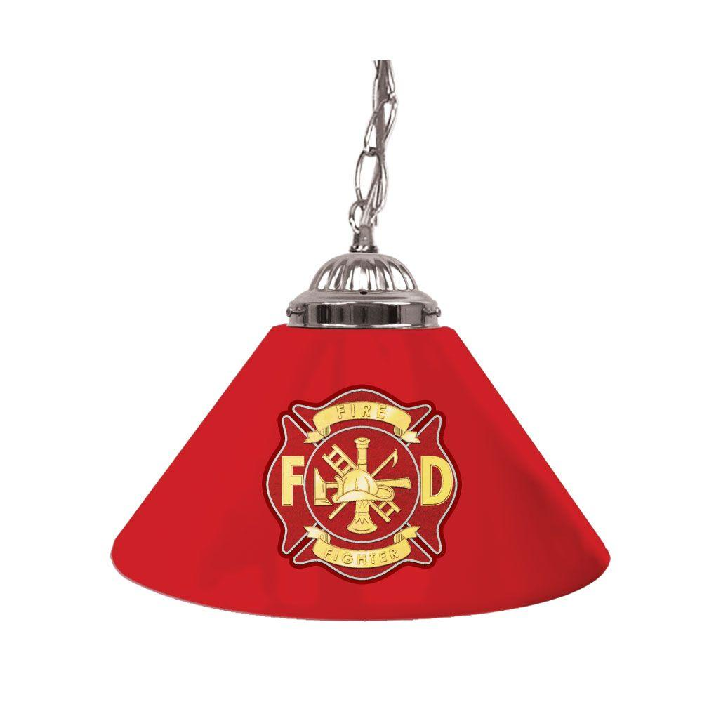 Trademark Global Fire Fighter 14 in. Single Shade Hanging Lamp