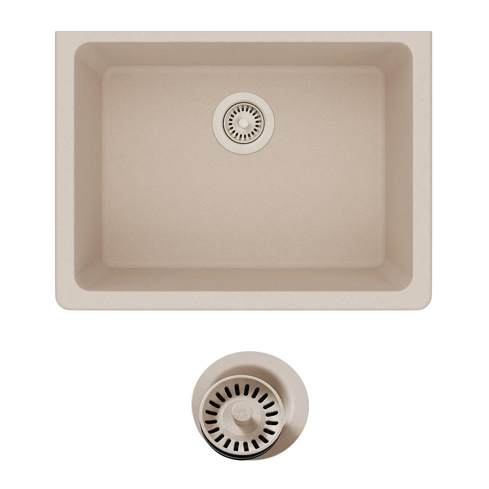 Elkay Quartz Classic Undermount Composite 25 in. Single Bowl Kitchen Sink  in Putty with Color Match Drain