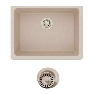 Quartz Classic Undermount Composite 25 in. Single Bowl Kitchen Sink in Putty with Color Match Drain