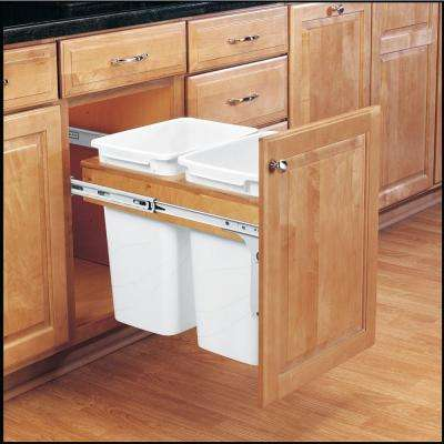 Double 50 Qt. Pull-Out Top Mount Wood and White Waste Container for Frameless Cabinet