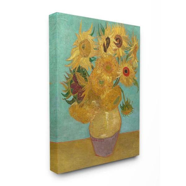 """The Stupell Home Decor Collection 30 in. x 40 in. """"Van Gogh Sunflowers Post Impressionist Painting"""" by Vincent Van Gogh Canvas Wall Art"""