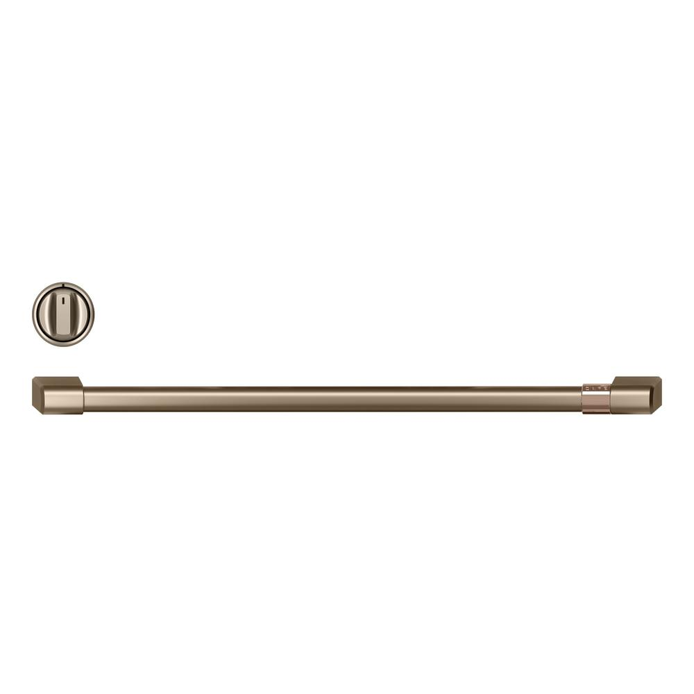 Front Control Electric Range Handle and Knob Kit in Brushed Bronze
