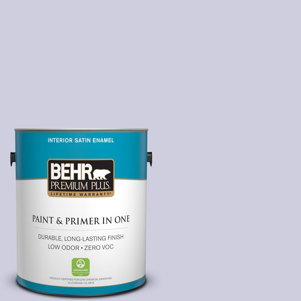 BEHR Premium Plus 1-gal. #640C-2 Lavender Sparkle Zero VOC Satin Enamel Interior Paint