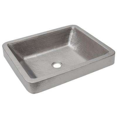 Rectangle Skirted Hammered Copper Vessel Sink in Nickel
