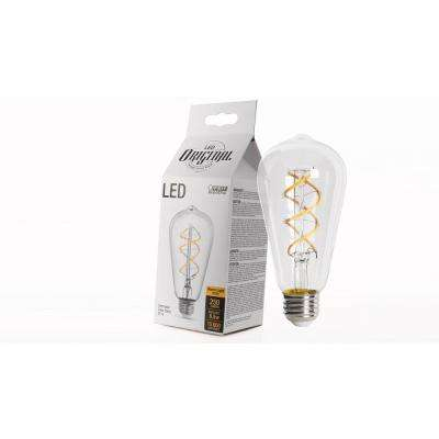 40W Equiv. Soft White ST19 Dimmable LED Antique Edison Spiral Clear Glass Filament Vintage Style Light Bulb (12-Pack)