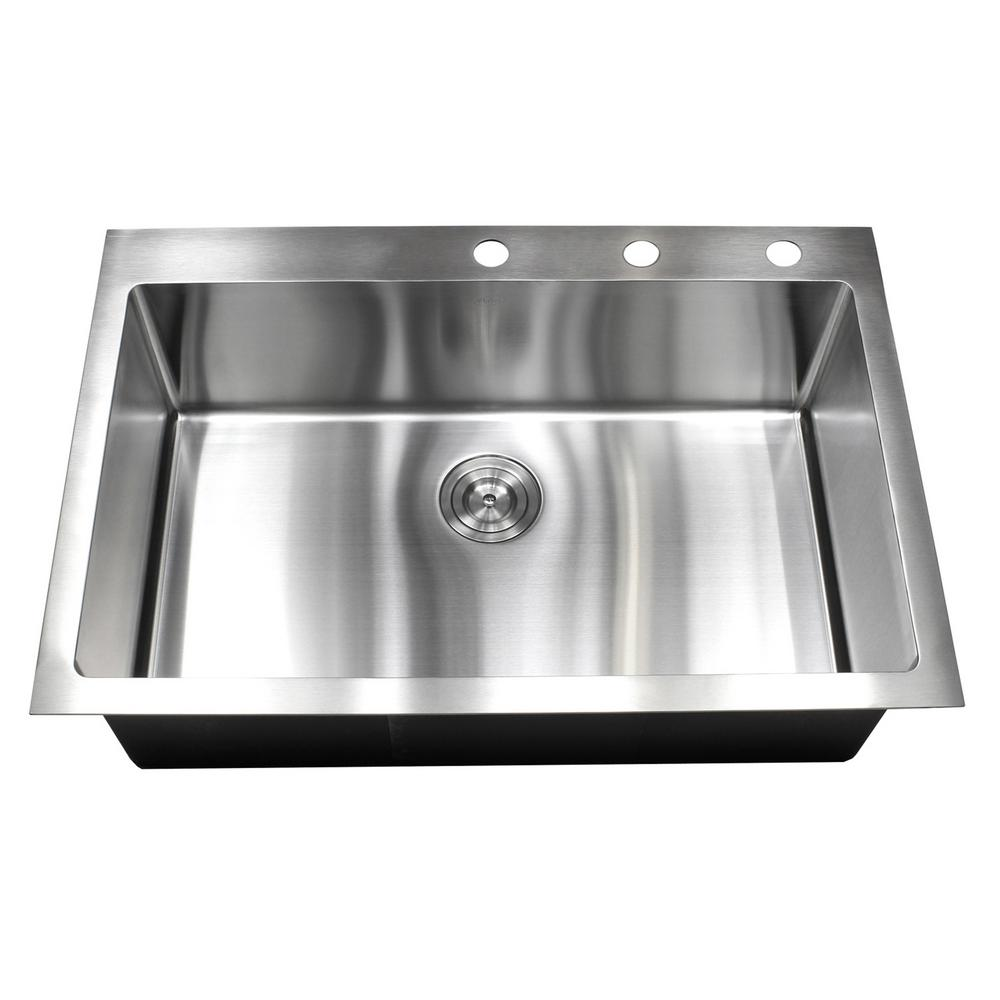 Drop-in Top Mount 16-Gauge Stainless Steel 33 in. x 22 in. x 10 in. Single  Bowl Kitchen Sink
