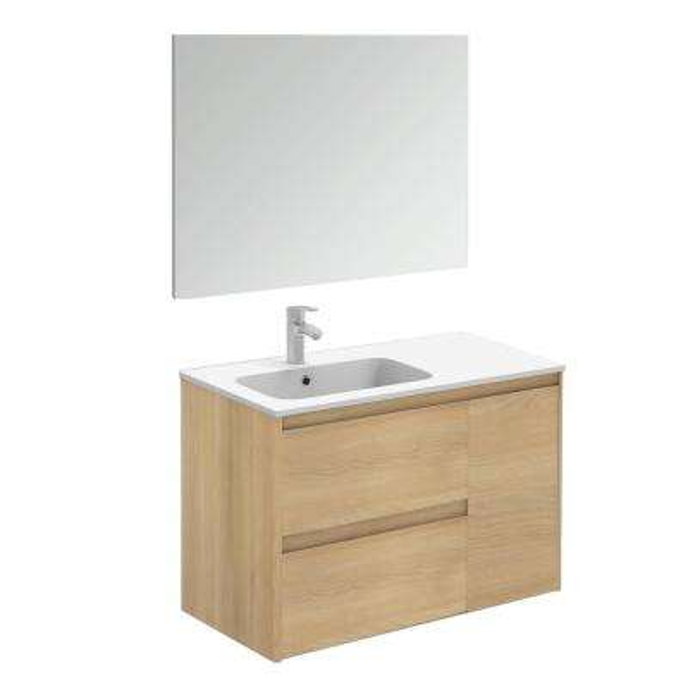 35.6 in. W x 18.1 in. D x 22.3 in. H Complete Bathroom Vanity Unit in Nordic Oak with Mirror