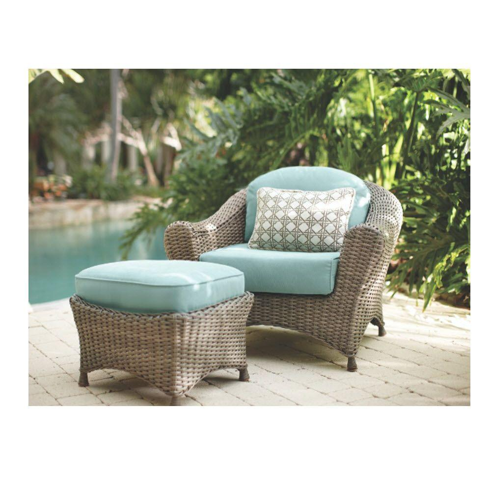 Martha Stewart Living Lake Adela Weathered Gray 2 Piece Patio Lounge Chair  And Ottoman Set With Surf Cushions 0482000390   The Home Depot