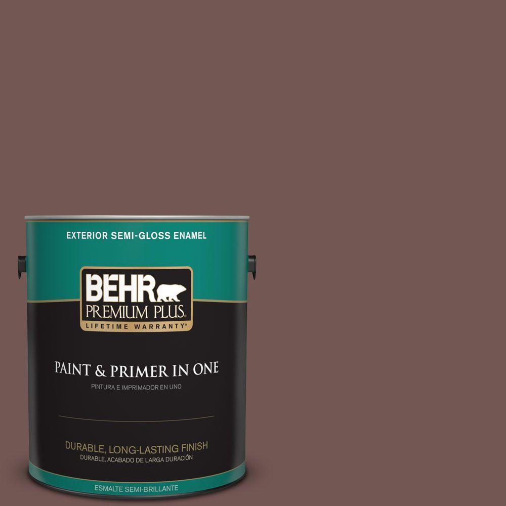 1-gal. #180F-6 Brown Ridge Semi-Gloss Enamel Exterior Paint