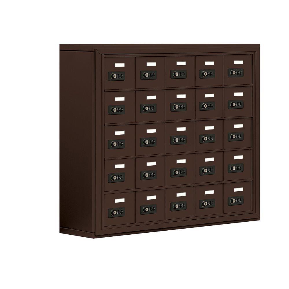 Salsbury Industries 19000 Series 37 in. W x 31 in. H x 9.25 in. D 25 A Doors S-Mount Resettable Locks Cell Phone Locker in Bronze