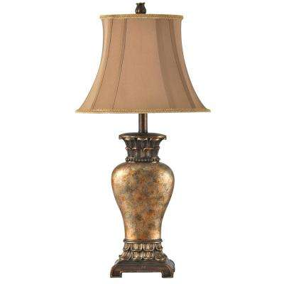 30 in. Brown/Bronze/Gold/Amber Table Lamp with Taupe Fabric Shade